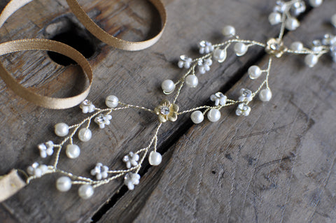 Wedding Halo Headband With Crystal Beads & Faux Pearls