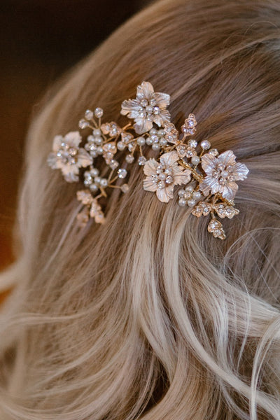 Bridal Wedding Hair Accessory Comb With Glass Beads & Rhinestones