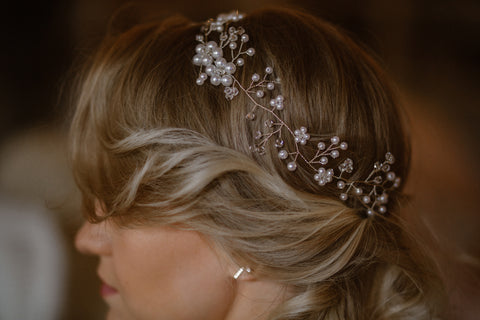 Bridal Halo Headpiece With Rhinestone Crystal Beads & Faux Pearls