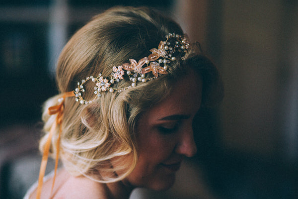 Handmade Wedding Halo Headband With Rhinestone Crystals