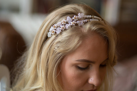 Faux Pearl Beaded Wedding Halo Headband
