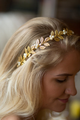 Gold Laurel Bay Leaf Handmade Bridal Tiara