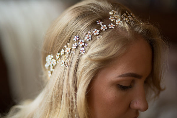 Faux White Opal Handmade Bridal Hair Vine With Rhinestone Crystals