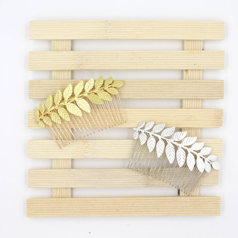 Set Of Two Laurel Bay Leaf Bridal Hair Combs