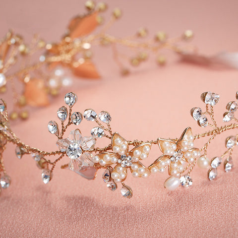 Handmade Bridal Vine Headpiece With Rhinestone Crystals