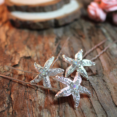 Set Of Three Starfish Handmade Bridal Accessory Hairpins
