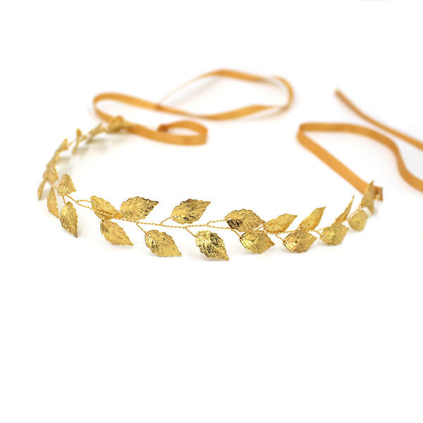 Gold Leaf Wedding Halo Headband