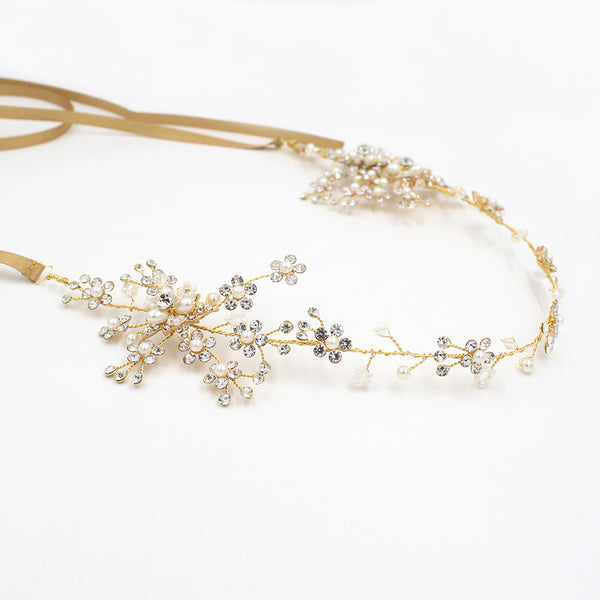 Handmade Bridal Hair Accessory With Rhinestones & Faux Pearls