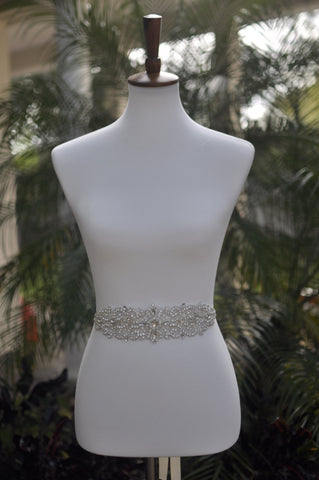 rhinestone encrusted bridal gown sash front