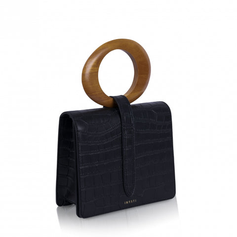 Abbey Top Handle Black Croco Matt Bag by Inyati