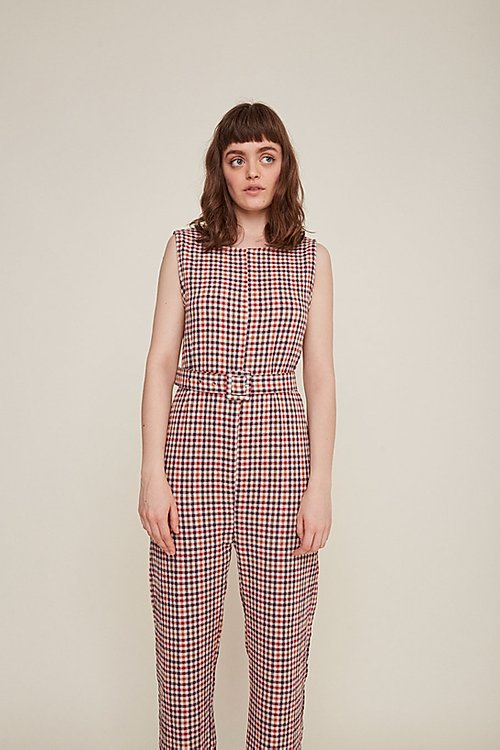 Zia Jumpsuit Maroon Checkered by Rita Row