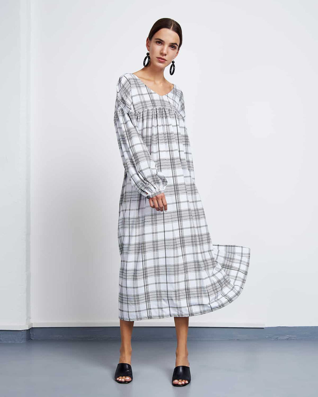 Maxi Dress Biela Checked by Jan n June