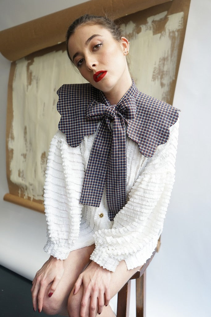 COLETTE COLLAR / Blue&Burgundy checks by Rosamen Bado
