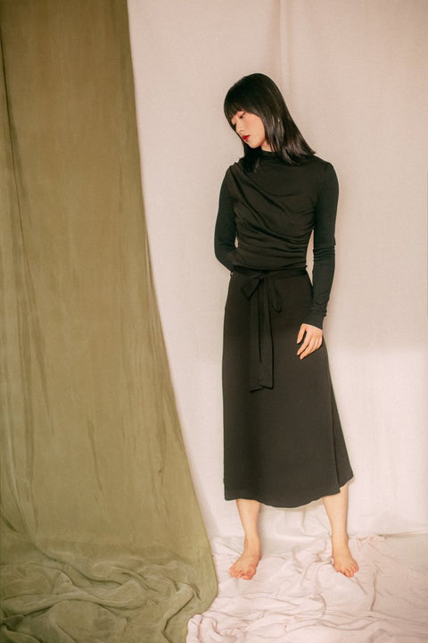 Black Drape Knit Dress by Cossac