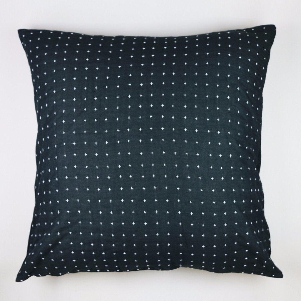 "26"" Black Cross-Stitch Embroidered Euro Sham by Anchal"