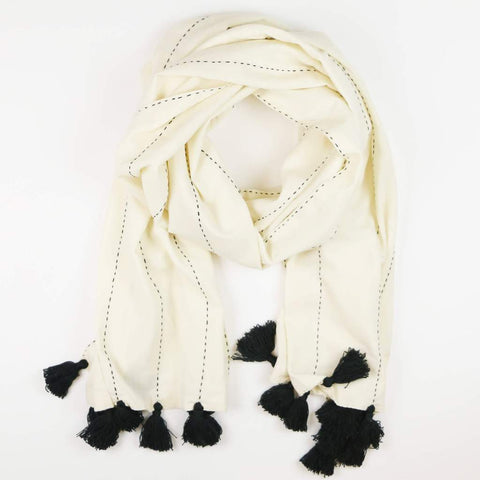 Didi Black And White Scarf With Tassels by Anchal