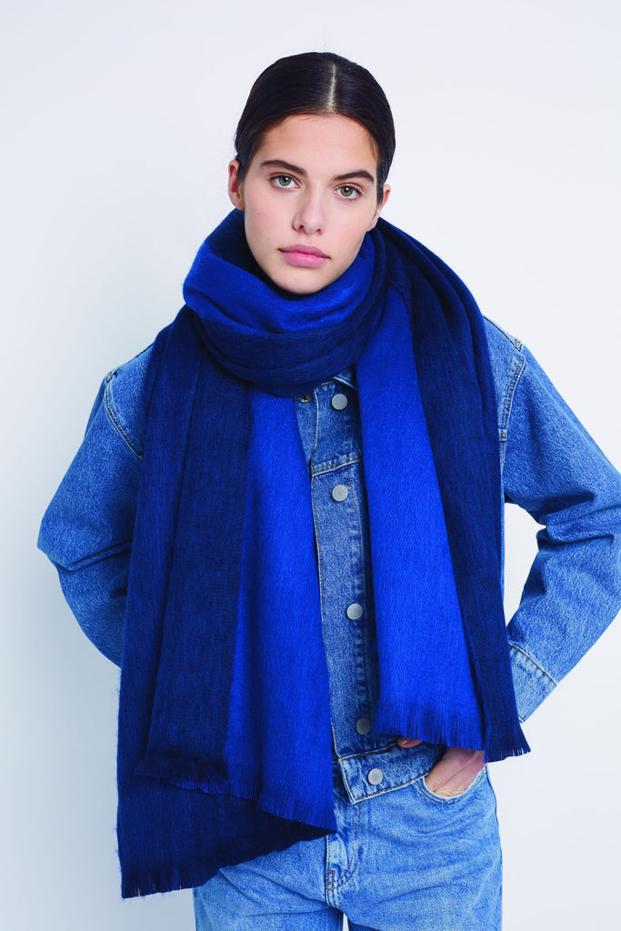 Double Scarf in Royal Cobalt Blue by Alpaca Loca