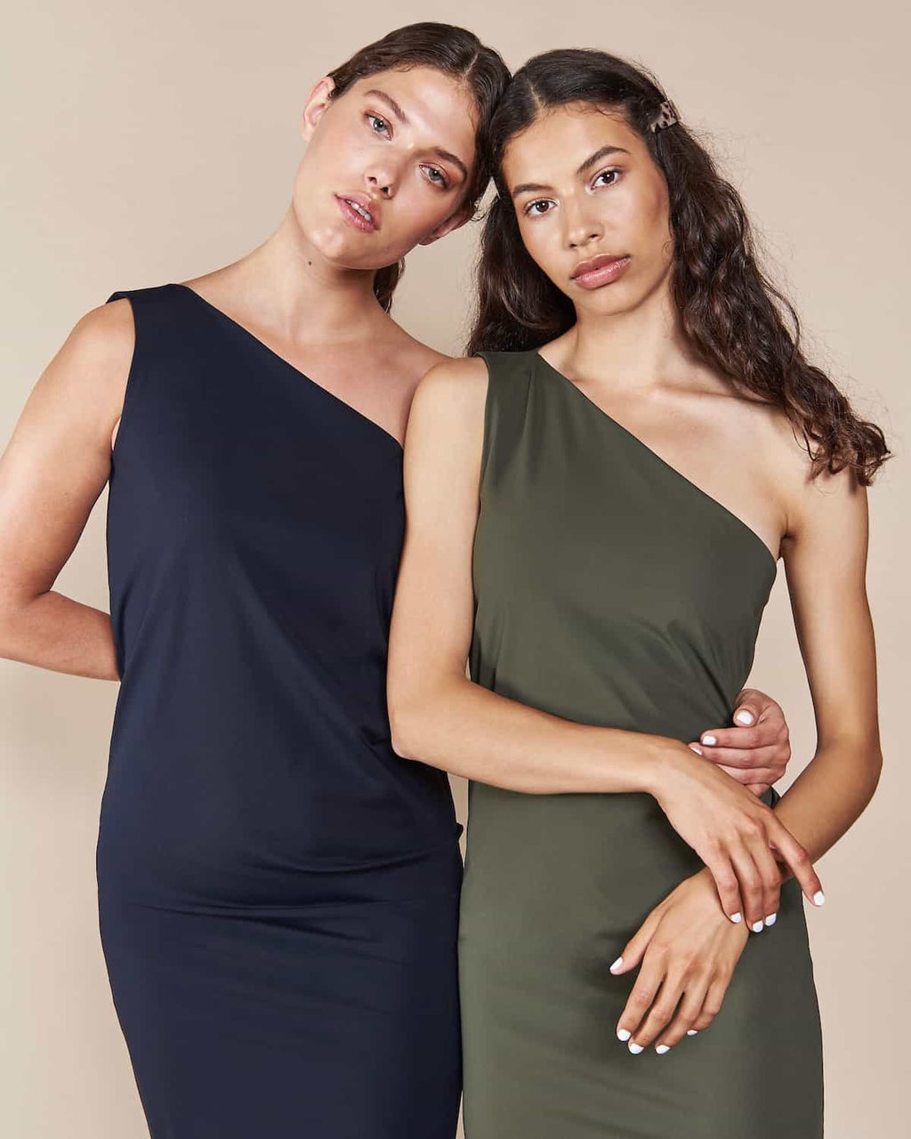 One Shoulder Dress Tulum Neoprene Olive