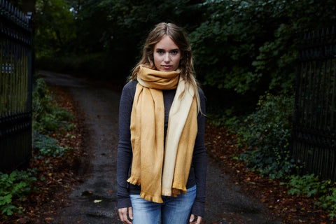 Double Scarf in Ocher Natural by Alpaca Loca