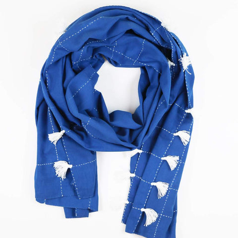 Grid Stitch Straight Scarf With Tassels - Cobalt by Anchal