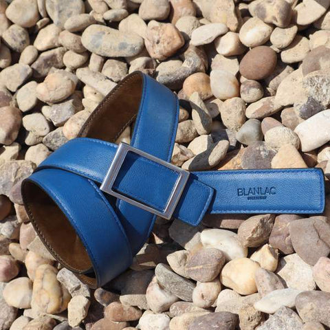 Vegan Blue Brown Reversible Strap Belt by Blanlac