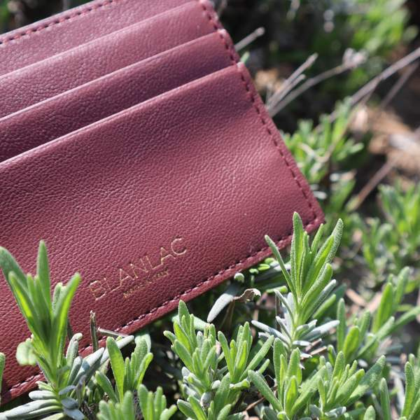 Vegan Card Holder Burgundy - Apple Skin by Blanlac