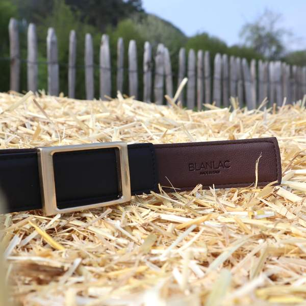 Vegan Black and Brown Reversible Belt by Blanlac