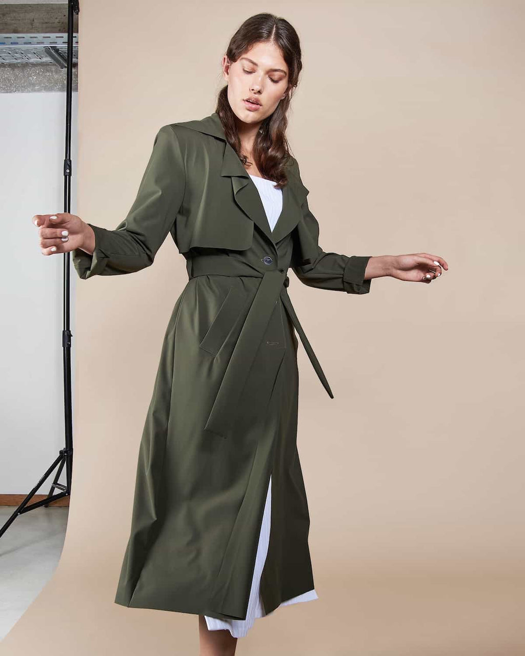 Trench Coat Lotic Neoprene Olive by Jan n June