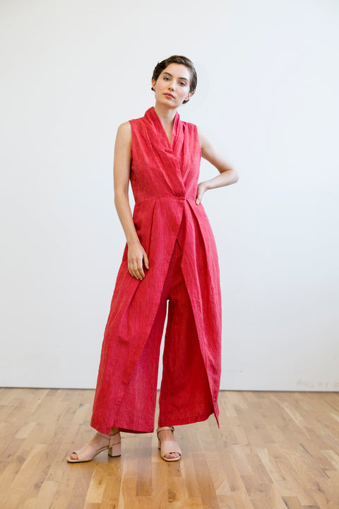 Peony Wrap Jumper Red by Rujuta Sheth