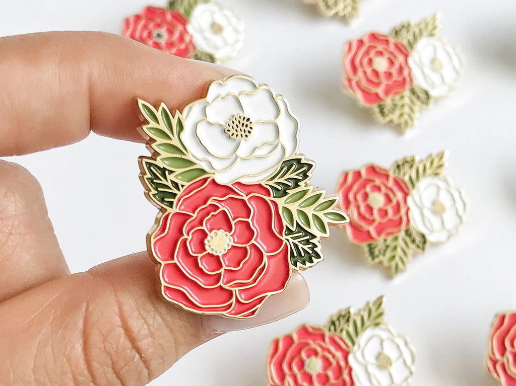Irene Floral Cluster Enamel Lapel Pin by Paper Anchor Co.
