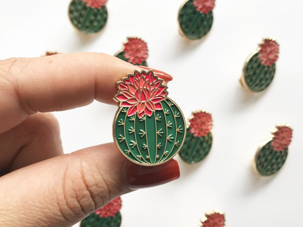 Julia Blooming Cactus Enamel Lapel Pin by Paper Anchor Co.