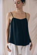 Black Pleat Cami Top by Cossac