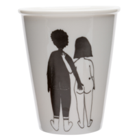 Cup Naked Couple Black man & White woman by Helen B