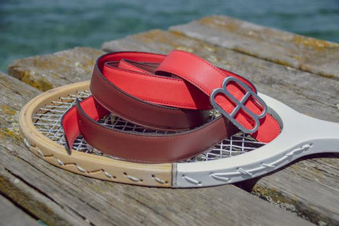 Vegan Red and Bordeux Reversible Strap Belt by Blanlac