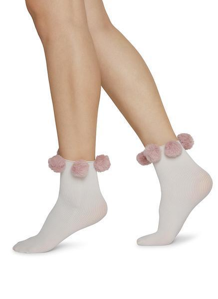 Ebba Pom-Pom Socks Dusty Rose by Swedish Stockings