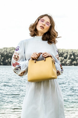 Inita Top Handle Vegan Bag Vanilla Yellow by Inyati