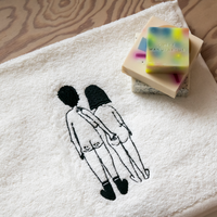 Guest Towel Naked Couple Back (Set of 2) by Helen B