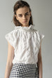 WHITE VINTAGE FABRIC WHIPPED CREAM BLOUSE by KM by Lange