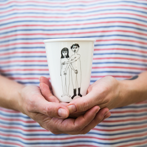 Cup Naked Couple Front by Helen B