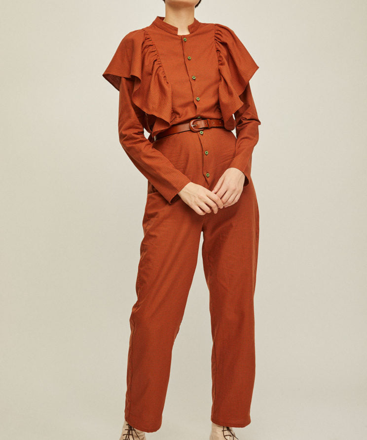 Lola Jumpsuit - Orange Checkered by Rita Row