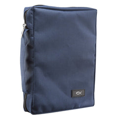 Polyester Canvas with Fish Badge in Navy Bible Cover