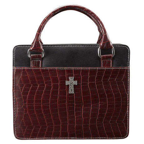 Burgundy Purse Style Fashion Bible Cover with Crocodile Embossing