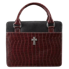 Purse Style with Crocodile Embossing in Burgundy Bible Cover