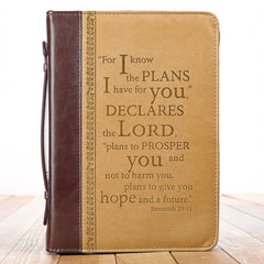 I Know the Plans Burgundy and Sand Faux Leather Bible Cover -  Jeremiah 29:11