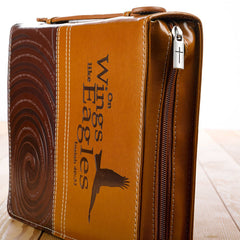 On Wings Like Eagles Brown Faux Leather Classic Cover - Isaiah 40:31