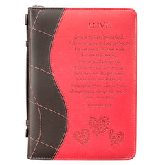 Love Pink Faux Leather Bible Cover - 1 Corinthians 13:4-8