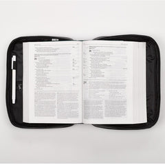 Two-fold Black Faux Leather Organizer Bible Cover