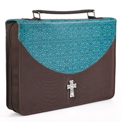 Embossed Turquoise and Brown Micro-Fiber Bible Cover