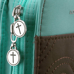 Turquoise and Brown Purse-Style Stitched Quilt Bible Cover