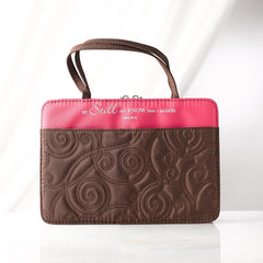 Pink and Brown Purse-Style Stitched Quilt Bible Cover